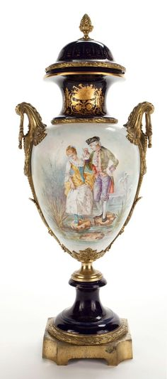 Sévres Style( France) — Porcelain Covered Urn ( Gilt-Bronze and Champlevé Enamel),19th century (453x1024)