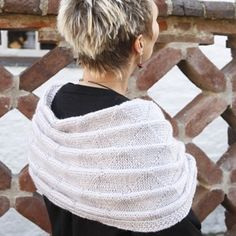 Pleated knitted scarf/wrap (twisted in front).