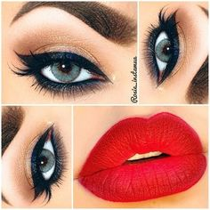 Retro Makeup ❤ liked on Polyvore featuring beauty products, makeup, eyes, lips, beauty and eye makeup