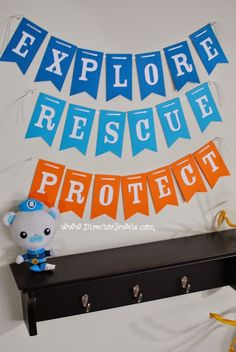 Explore Rescue Protect Banner | Captain Barnacles | Octonauts Birthday Party Decoration Ideas | Under the Sea Ocean Decor at directorjewels.com