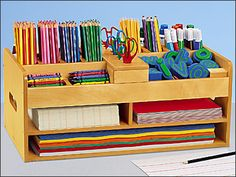 accessories organization Keep all of your writing supplies in super-easy reachwith Lakeshores Classic Birch Tabletop Writing Center! Art Storage, Craft Room Storage, Office Organization, Storage Ideas, Classroom Furniture, Classroom Decor, Diy Furniture, Rangement Art, Writing Area