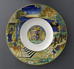 Nicola di Grabriele Sbraghe da Urbano (ca. 1480-1537/38) Service of Isabella d'Este (1474-1539), Plate with the legend of Orpheus and Eurydice  Italy, Urbino, ca. 1524-1525, Majolica a istoriato, painted in polychrome,  D. 39 cm Paris, Musée du Louvre, OA12207