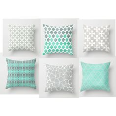 Throw Pillows - Mint and Grey Geometric Patterns a93202e7f8b0