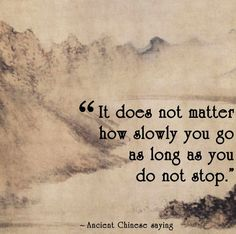 Chinese Proverb It does not matter how slowly you go as long as you do not stop