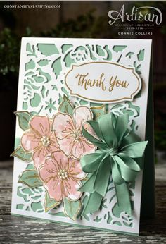 Detailed Floral Thinlits with Penned & Painted Stamp Set by Stampin' Up… by ivy Thanks Card, Stampin Up Catalog, Making Greeting Cards, Stamping Up Cards, Pretty Cards, Copics, Flower Cards, Cool Cards, Scrapbook Cards