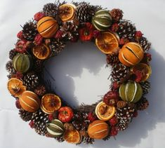 POLLYFIELDS DELUXE HANDMADE CHRISTMAS WREATH - 37cm DRIED FRUIT & SPICE RING in Home, Furniture & DIY, Celebrations & Occasions, Christmas Decorations & Trees | eBay