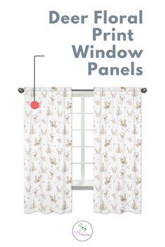 Deer Floral Collection Window Panels - Set of 2 Deer Floral Print Panels Curtain Panels, Window Panels, Panel Curtains, Kids Window Treatments, Crib Sets, Girl Room, Baby Girls, Nursery Decor, Deer