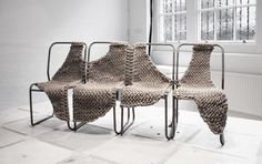 17 unique yarn inspired chairs for today's Deco Friday! You won't believe the possibilities, check them out! Textiles, Modern Furniture, Furniture Design, Office Chair Without Wheels, Old Chairs, Black Chairs, Painted Chairs, Painted Tables, Painted Furniture