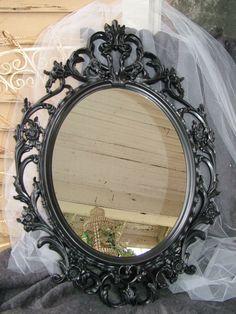 Black Wall Mirror, large, Bellas Attic Treasures