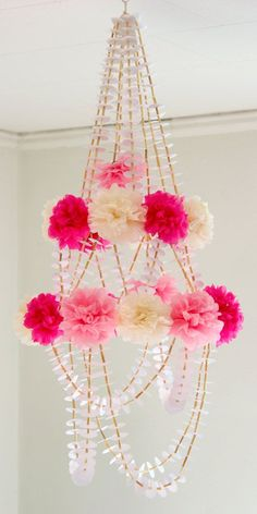 Unique Pom Pom Paper Chandelier Mobile Pink and White. $67.00, via Etsy.