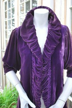 Most marvelous purple violet silk velvet evening jacket. Dating to the first quarter With ruched and ruffled collar and closing edges, no closures, length sleeves with gathers at top of shoulders. Bias Cut Dress, Small Scarf, Crepe Dress, Retro Dress, Printed Cotton, Eve, Photoshoot, Magic, Halloween