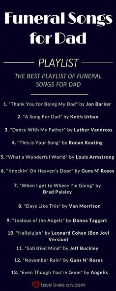Funeral songs for Dad playlist. Click to browse over 200 funeral songs to find the best funeral music to pay tribute to a special Dad None of these! But Jimmy Buffet's song to his little girl is sweet! But in a church, we'd have those kind of songs, like my dad always sang. Funeral Songs For Dad, Funeral Hymns, Songs About Dads, Funeral Music, Funeral Eulogy, Tribute To Dad, Dance With My Father, Remembering Dad, Funeral Planning