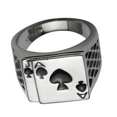 uk seller Stainless Steel Silver Mens Ace of Spades Biker Lemmy Poker Card Ring in Jewellery & Watches, Men's Jewellery, Rings | eBay!