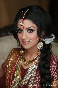 :). Exquisite eyes and perfectly arched eyebrows <3. #beautiful #indian #bride