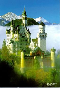 Neuschwannstein, King Ludwig's Castle in Bavaria, Germany. Just out of a fairy tale. This castle was the inspiration for the Cinderella castle in Disneyland.