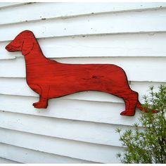 Dachshund Wall Decor Dog Sign Large Barnwood Red Wooden Wall Art - possible corgi art for outdoors