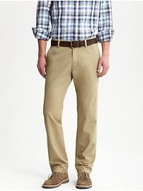 Khaki pants - notice that they sit at the waist, not on the hips (or lower).