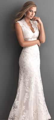 2013 Allure Bridal - White Lace Applique Keyhole Wedding Dress