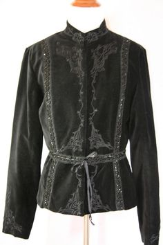 Plenty Velveteen black embroidered and sequenced jacket size 6 #Plenty #BasicJacket