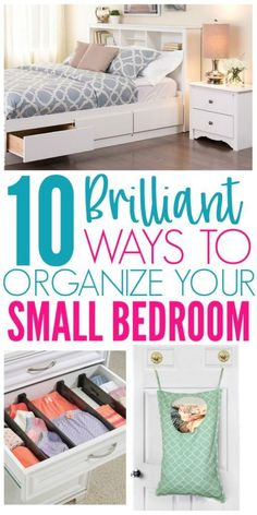 Are you struggling to organize your small bedroom and fit everything you need? Here are 10 ways to successfully organize your small bedroom. Small Bedroom Organization, Home Organization Hacks, Organizing Small Bedrooms, Small Bedroom Hacks, Furniture For Small Bedrooms, Bedroom Storage For Small Rooms, Decor For Small Bedroom, Decorating Small Bedrooms, Diy Storage For Small Spaces