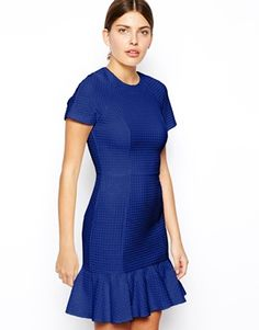 ASOS Pencil Dress In Texture With Peplum Hem - This dress is amazing. It comes in this royal blue and ivory. I bought the royal blue. Super flattering and moves beautifully when you walk.