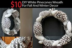 10 Dollar DIY White Pinecones Wreath For Fall And Winter Decor