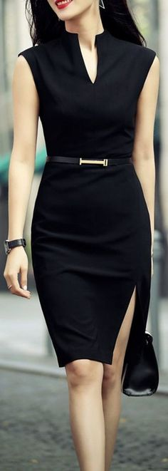 Shop zenpp black slit sheath dress here, find your knee length dresses at dezzal, huge selection and best quality. Business Outfits, Business Attire, Office Outfits, Work Outfits, Office Wear, Business Wear For Women, Sexy Work Outfit, Business Formal Women, Casual Office