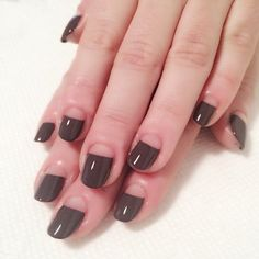 "Classic Half Moon Manicure -- so sleek and sexy. The polish pictured here is Essie ""Smokin' Hot."""