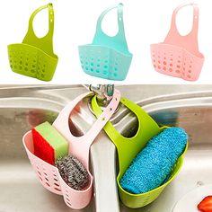 Sink Sponge Holder 2 Bags Holes Tap Hanging Strainer Organizer Storage Rack 09WG #Affiliate