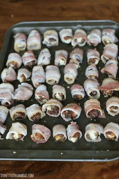 Bacon wrapped dates on tray