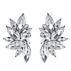 Rhinestone Faux Crystal Statement Earrings White ($2.40) ❤ Liked On  Polyvore Featuring Jewelry,