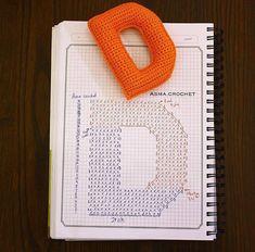 Amigurumi letter C Crochet Symbols, Crochet Motifs, Crochet Diagram, Crochet Chart, Crochet Stitches, Crochet Patterns, Crochet Alphabet Letters, Crochet Letters Pattern, Crochet Bunting