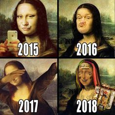 The Mona Lisa, undergoing rapid evolution in the modern world. The Mona Lisa, undergoing rapid evolution in the modern world. Most Hilarious Memes, Crazy Funny Memes, Stupid Memes, Funny Relatable Memes, Wtf Funny, Funny Tweets, Funny Fails, Funny Jokes, Funny Images