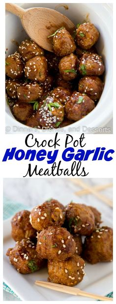 Crock Pot Honey Garlic Meatballs – super tender meatballs that simmer in a delicious honey garlic sauce. Great for an appetizer or over rice for dinner.
