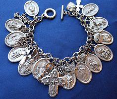 Religious Saint Medal Charm Bracelet (524a) Holy Family  & MORE