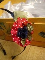 Colorfull diy fabric dots headband red blue green with roses and ribbon
