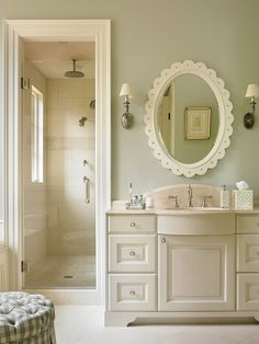Farrow and Ball 235 Borrowed Light (nearest match is Benjamin Moore Glass Slipper 1632).   Interiors by Mary McWilliams from Mary Mac & Co.