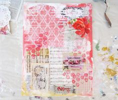 Gorgeous mixed media background, very shabby and just love it!  Vintage papers, old books, stamping, stencilling....