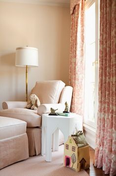 Drapes in Quadrille Monty pink damask