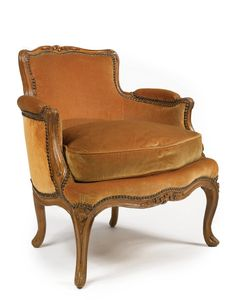 c1745 A LOUIS XV CARVED BEECHWOOD SMALL BERGÈRE circa 1745, stamped N. Poirie Estimate  2,500 — 3,500  USD. unsold