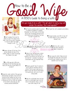 How to Be a Good WIfe Bridal Shower by BridalShowerBoutique How to Be a Good Wife 2020 Film Complet 1950s Housewife, Vintage Housewife, Blush Bridal Showers, Bridal Shower Games, The Good Wife's Guide, Books And Tea, Etiquette And Manners, Marriage Tips, Vintage Ads