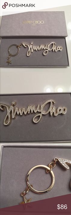 """Jimmy Choo Crystal Key Chain Bag Charm In Box Jimmy Choo Crystal Key Chain In Box. This could be used as a key chain or bag charm. Measurements appropriately 6"""" long ( not including ring) by 14"""" thick. All crystals present. Gold color . Comes in Original Box. trades. Please ask all questions prior to buying Jimmy Choo Accessories Key & Card Holders"""