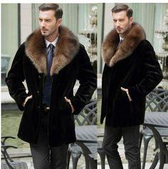 d749870aae5 2017 new autumn winter thicken warm faux fur coat mens leather jacket slim mink  jackets men medium long coat jaqueta de couro