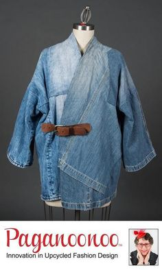 """DIY sewing instructions for unisex """"BORO Style Jean Jacket"""" by Paganoonoo. Recycle denim jeans into timeless kimono shaped jean jacket. - Boro-inspired Jean jacket is an art-style piece to wear. Kimono Fashion, Denim Fashion, Fashion Women, Ropa Upcycling, Mode Kimono, Diy Vetement, Mode Jeans, Recycle Jeans, Refashioning"""
