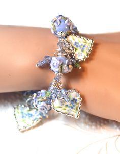 Broken China Jewelry Bracelet Heart Charms Handmade Lampwork Beads Blue Taffeta Sterling Silver