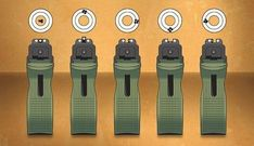Assuming your handgun is properly zeroed, sight alignment issues will show up quickly on target—as in these examples. At far left, proper sight alignment: Top of the front sight even with the top of the rear sight, front post centered in the rear notch. Shooting Guns, Shooting Range, Pistol Shooting Tips, Shooting Sports, Targets For Shooting, Weapons Guns, Guns And Ammo, Target Practice, Home Defense
