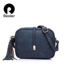 567e5d4fe7 REALER women shoulder crossbody bags small messenger bags ladies retro design  handbag with tassel female school student bag tote