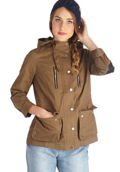 Hometown Adventures Jacket - Mid-length, Cotton, Faux Leather, Woven, Brown, Solid, Buttons, Exposed zipper, Patch, Pockets, Casual, Safari, Long Sleeve, Fall, Military, Brown, Winter, Better, 1