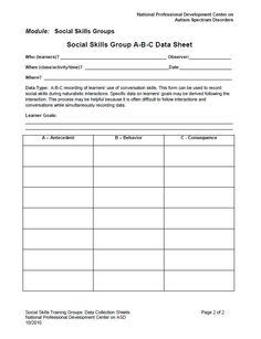 Social Skills ABC Data Collection Sheet. For more on Social Skills Training visit http://autismpdc.fpg.unc.edu/sites/autismpdc.fpg.unc.edu