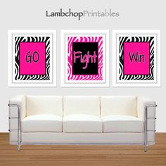 Go Fight Win, Cheer Set, Hot Pink Zebra, Set of 3, Zebra print, 8x10, 16x20, Girls Room, Teen art, Cheer, Cheerleading quote, girl sport by LambchopPrintables on Etsy https://www.etsy.com/listing/183645977/go-fight-win-cheer-set-hot-pink-zebra
